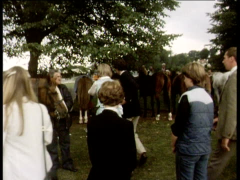 visibly upset by press intrusion lady diana spencer leaves audience of polo game and is joined by prince charles tidworth 25 jul 81 - distraught stock videos and b-roll footage