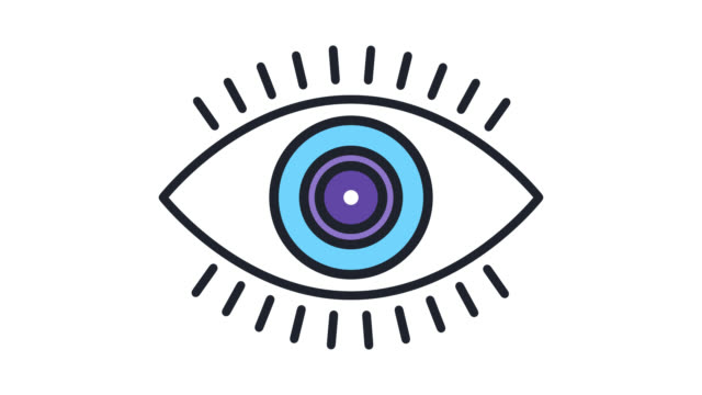 vision check flat line icon animation with alpha - eyeball stock videos and b-roll footage
