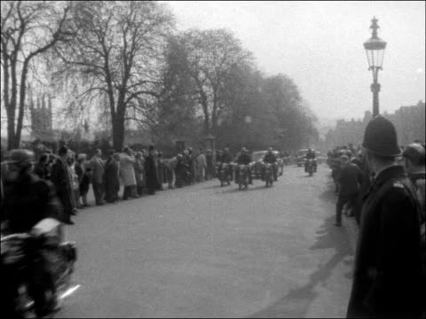visit by nikolai bulganin and nikita khrushchev england buckinghamshire chequers people in road outside / chequers estate / ms cars lining route and... - visit stock videos & royalty-free footage