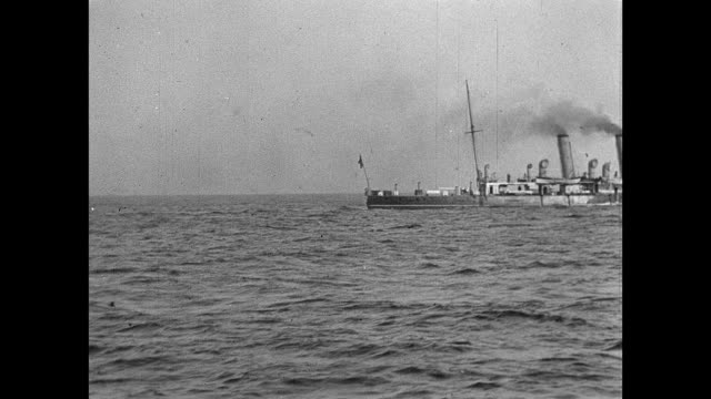 1901 a visit from the royal navy's channel fleet - militärschiff stock-videos und b-roll-filmmaterial