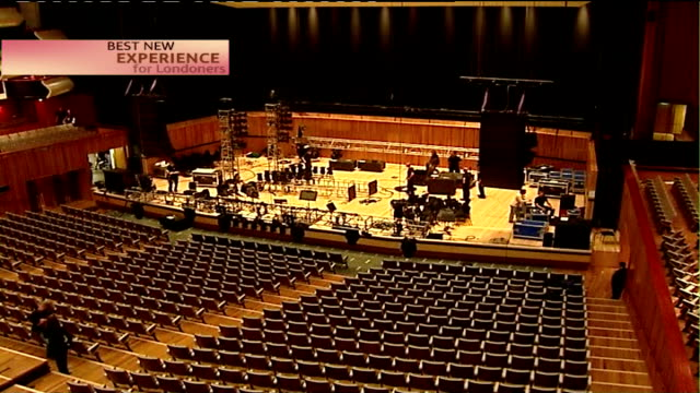 profile of nominees: royal festival hall; ext michael lynch interview sot int cutaway general view of auditorium new shops in entrance, view over... - ロイヤルフェスティバルホール点の映像素材/bロール