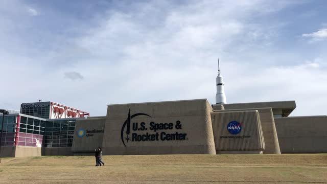 visit the u.s. rocket and space center museum amid the global coronavirus pandemic. - cumulus stock videos & royalty-free footage