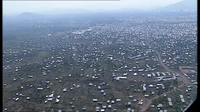 un visit to meet victims of rape kichanga displaced persons camp democratic republic of congo north kivu kitchanga ext air views kitchanga / aerials... - コンゴ民主共和国点の映像素材/bロール
