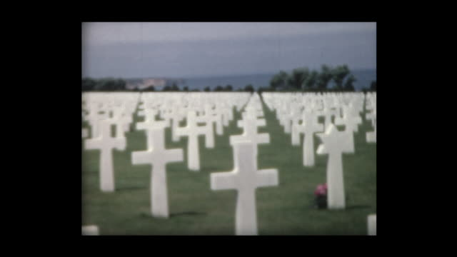 1967 visiting american cemetery at normandy - place concerning death stock videos & royalty-free footage