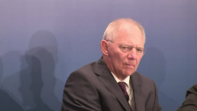 visiting german finance minister wolfgang schaeuble praised greece thursday for its progress on economic reforms a day after parliament narrowly... - report produced segment stock videos & royalty-free footage