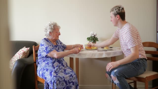 visiting his elderly relative - sheltered housing stock videos & royalty-free footage