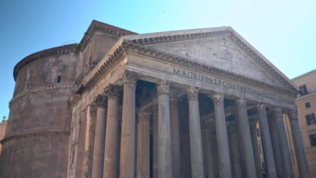 visiting pantheon rome - stone material stock videos & royalty-free footage