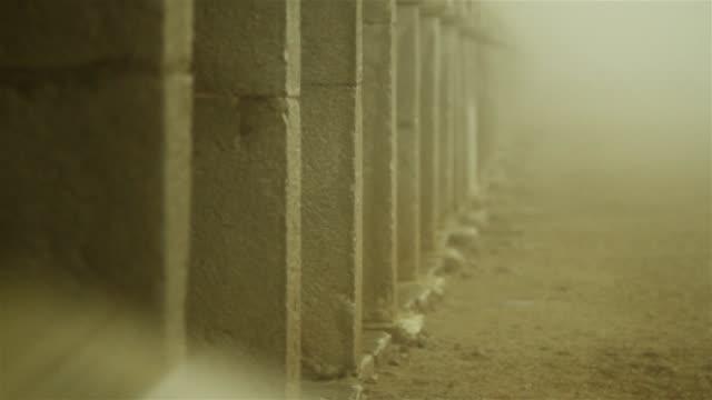 濃い霧で覆われている修道院を訪問 - 建築上の特徴 アーチ点の映像素材/bロール