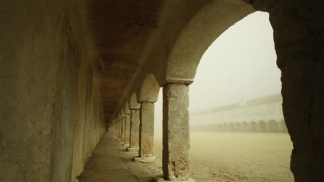 visiting the monastery - arch architectural feature stock videos and b-roll footage