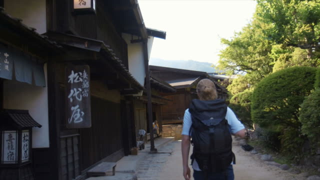 visiting tsumago (slow motion) - travel destinations stock videos & royalty-free footage