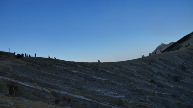 visitor walking at mount ijen crater ridge - indonesia map stock videos & royalty-free footage