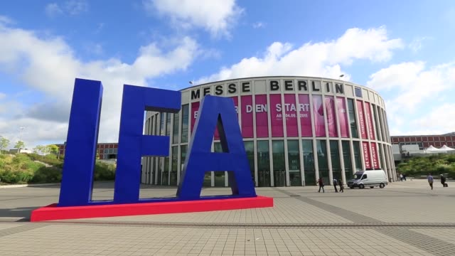 Visitors arrive outside the Messe Berlin exhibition center ahead of the IFA International Consumer Electronics Show in Berlin Germany on Thursday...
