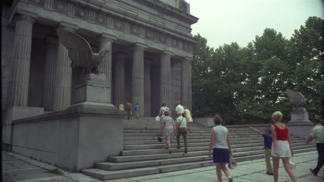 1969 ws visitors ascending steps of grant's tomb, new york city, new york, usa - full length stock videos & royalty-free footage