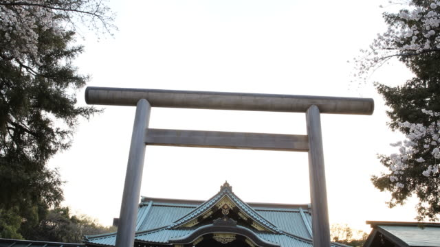 visitors at yasukuni shrine, tokyo, japan - shrine stock videos and b-roll footage