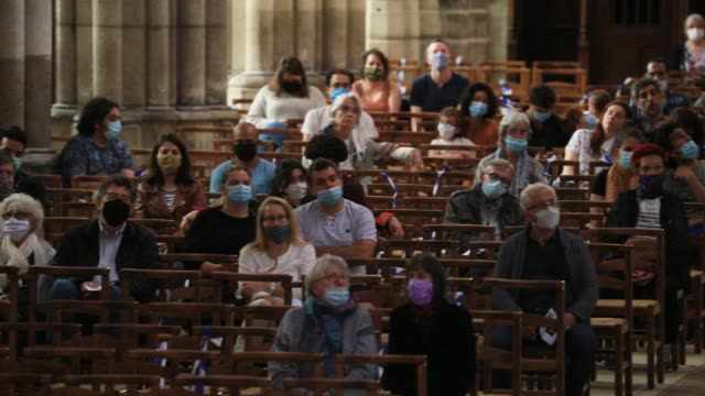 visitors attend an organ concert at the basilica of saintdenis in the outskirts of paris on july 5 2020 in saint denis france the church houses the... - funeral stock videos & royalty-free footage