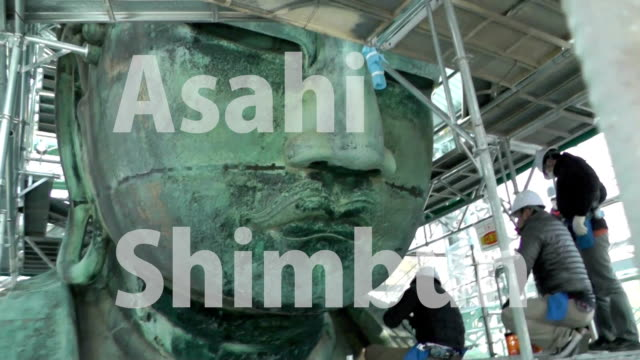 visitors coming to see the great buddha of kamakura will be disappointed as the bronze statue is shrouded from view as it undergoes its first major... - see other clips from this shoot 1335 stock-videos und b-roll-filmmaterial