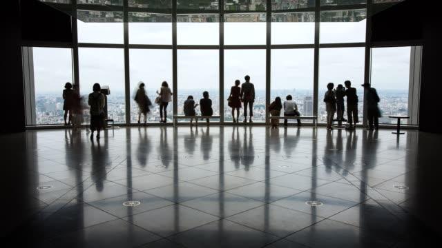 MS T/L Visitors enjoying views at Roppongi Hills observatory / Tokyo, Japan