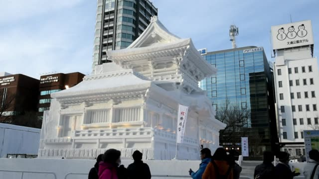 visitors gather for the sapporo snow festival in northern japan - snow festival stock videos & royalty-free footage