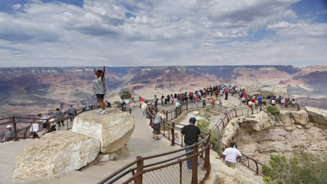 Visitors hurry at  Yaki Point, Grand Canyon National Park, Arizona.