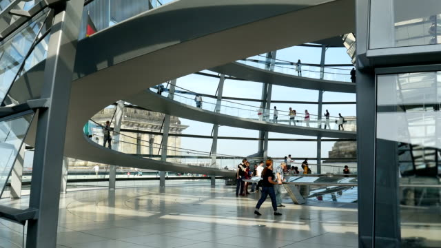 Visitors In Berlin Reichstag Dome (4K/UHD to HD)
