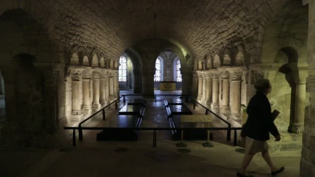 visitors in the crypt at the basilica of saint-denis in the outskirts of paris on july 5, 2020 in saint denis, france. the church houses the remains... - cathedral stock videos & royalty-free footage