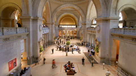 t/l visitors in the metropolitan museum of art / new york city, new york, united states - museum stock videos & royalty-free footage