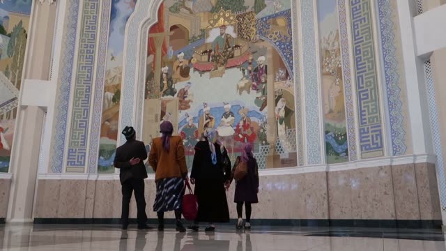visitors inside amir timur museum in tashkent, capital of uzbekistan dedicated to amir timur the 14th century mongol conqueror of western, south and... - eddie gerald stock videos & royalty-free footage