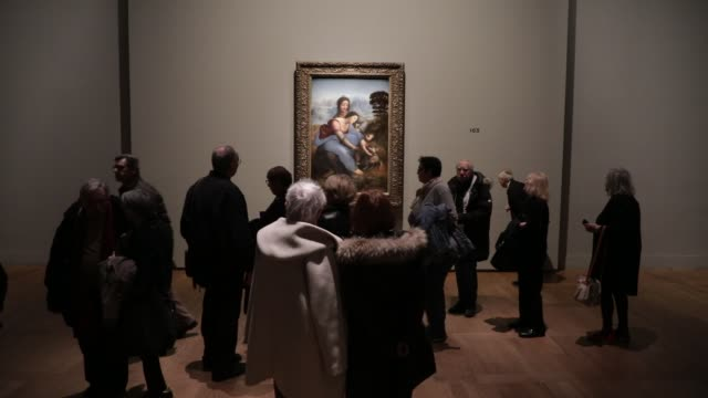 "visitors look at the painting ""the virgin, the child jesus and saint anne"" during the exhibition of leonardo da vinci at the louvre museum on january... - kunst, kultur und unterhaltung stock-videos und b-roll-filmmaterial"