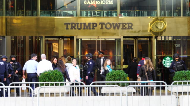 visitors of trump tower are fewer than as usual in this winter holidays seasons because of tight security and restriction of pedestrian's... - welcome mat stock videos and b-roll footage