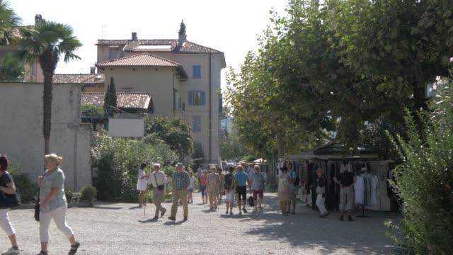 Visitors on Isola dei Pescatori, Lake Maggiore, Piedmont, Italian Lakes, Italy, Europe