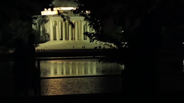 visitors pass by tidal basin as the thomas jefferson memorial is seen in the background after a thunderstorm. washington, dc. june 23, 2015. - thomas jefferson stock videos & royalty-free footage