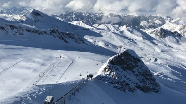 Visitors ski down a slope on a glacier on Kitzsteinhorn mountain at the Kaprun ski resort in the Austrian Alps on February 8 2018 near Kaprun Austria...
