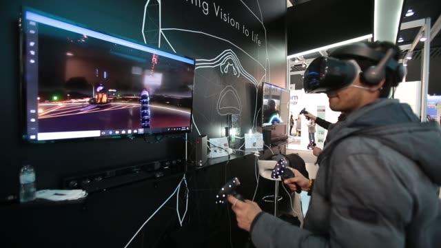 Visitors testing Virtual Reality during the Mobile World Congress the world's biggest mobile fair on February 28 2018 in Barcelona The Mobile World...