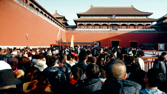 visitors visit the forbidden city,beijing,china. - scratched stock videos & royalty-free footage