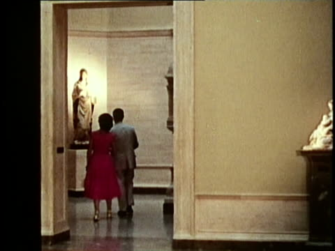 1958 ms visitors walking around interior of us national gallery of art / washington dc / audio - visit stock videos & royalty-free footage
