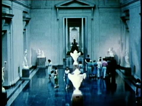 1958 ha ws visitors walking around sculpture exhibit in us national gallery of art / washington dc / audio - ausstellung stock-videos und b-roll-filmmaterial
