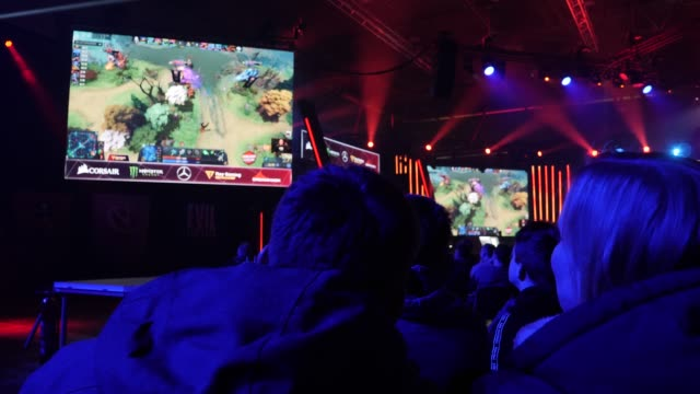 visitors watch the game dota 2 during a competition of the dreamleague seasons 13 at the dreamhack leipzig digital festival on january 24, 2020 in... - contest stock videos & royalty-free footage