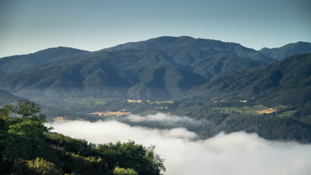 vista of morning fog in carmel valley - time lapse - carmel california stock videos and b-roll footage