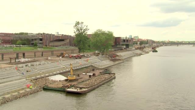 vistula's boulevard under construction - construction vehicle stock videos & royalty-free footage
