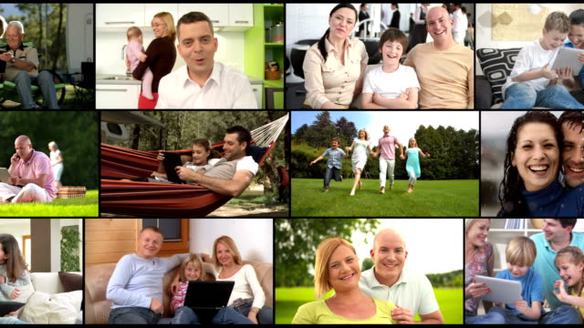 hd montage: visual screen of happy families - film composite stock videos & royalty-free footage
