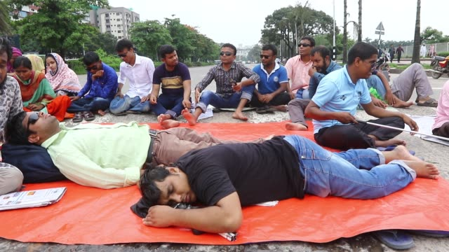 visually impaired job seekers went on an indefinite hunger strike in front of the jatiya sangsad building demanding special recruitment at government... - visual impairment stock videos & royalty-free footage