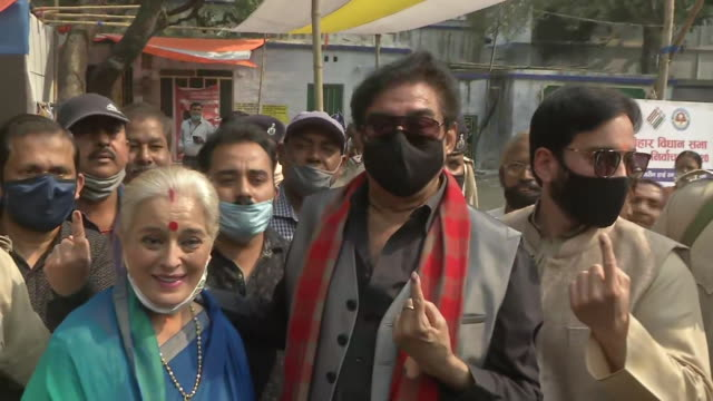 visuals of actor shatrughan sinha along with wife poonam sinha and son luv sinha showing their inked index finger while posing together towards the... - human finger stock videos & royalty-free footage