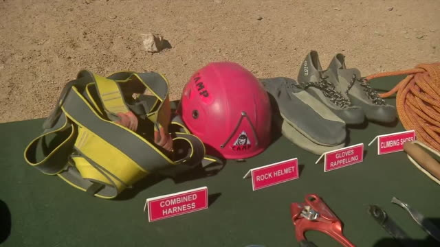 visuals of the climbing equipment used by the soldiers of indian army different equipment can be seen kept on the table including tape sling climbing... - indian army stock videos & royalty-free footage