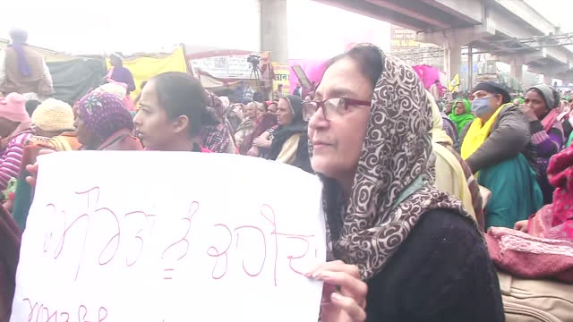 visuals of women farmers staging a protest at tikri border in new delhi. women farmer day was celebrated with great enthusiasm at tikri border on... - farmer stock videos & royalty-free footage