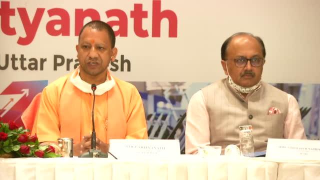 visuals of yogi adityanath at a press conference in mumbai. addressing a press conference in mumbai on december 02, uttar pradesh chief minister yogi... - 酋長点の映像素材/bロール
