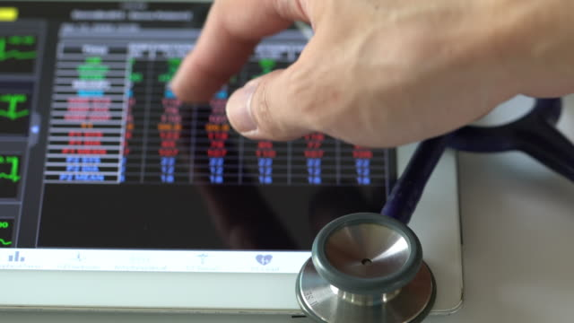 vital signs screen monitor - listening to heartbeat stock videos and b-roll footage
