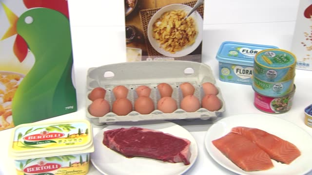 Vitamin D foods Vitamin D foods ENGLAND London INT General views food items with Vitamin D Kellogg's Corn Flakes butter cereal eggs meat salmon...