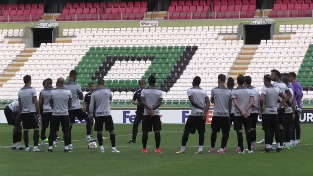 Vitoria SC players take part in a training session led by head coach Pedro Martins in Konya Turkey on September 27 2017 Vitoria SC will face Atiker...