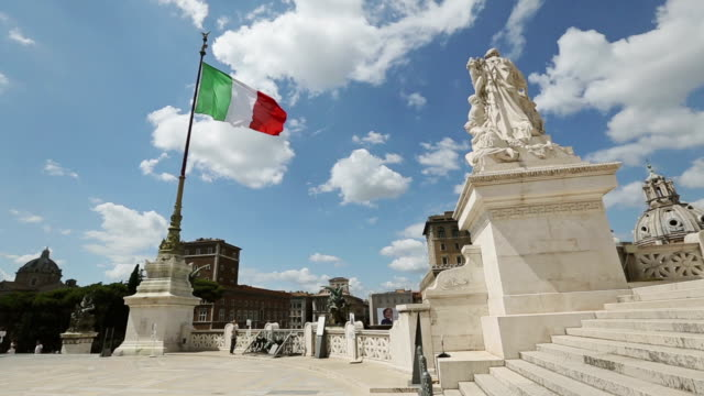 Vittorio Emanuele Monument in Rome and Italian Flag
