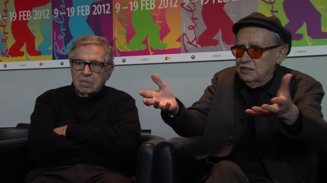 vittorio taviani paolo taviani on the inspiration of the film caesar must die interviews 62nd berlin international film festival 2012 at berlinale... - paolo taviani stock videos and b-roll footage
